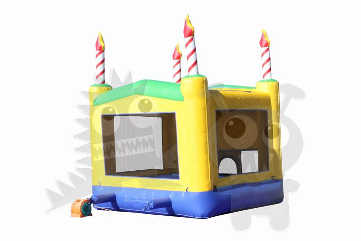 13x13 3-D Yellow Birthday Cake Bounce House Jumper with Basketball Hoop Commercial Inflatable For Sale