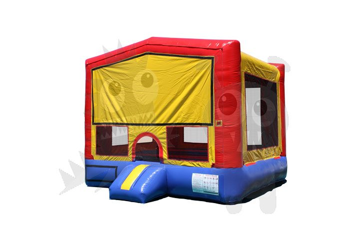 Red/Blue/Yellow Bounce House Jumper with Basketball Hoop Commercial Inflatable For Sale
