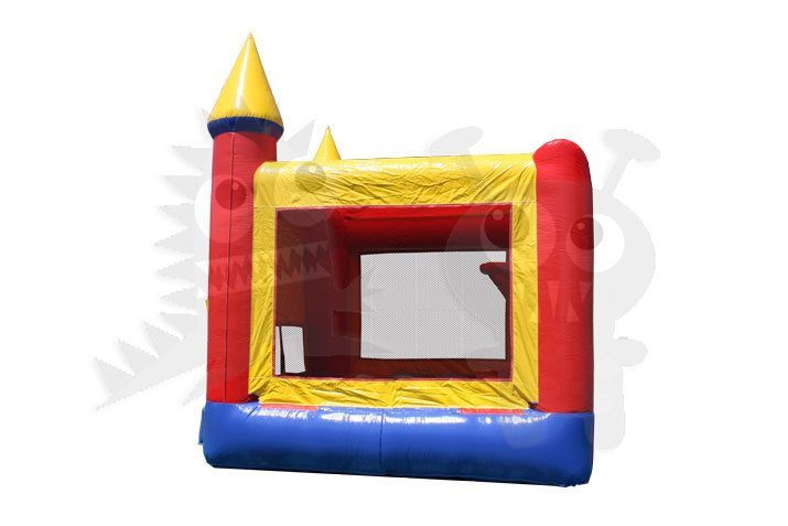 Red/Yellow/Blue Bounce House Castle Jumper with Basketball Hoop Commercial Inflatable For Sale