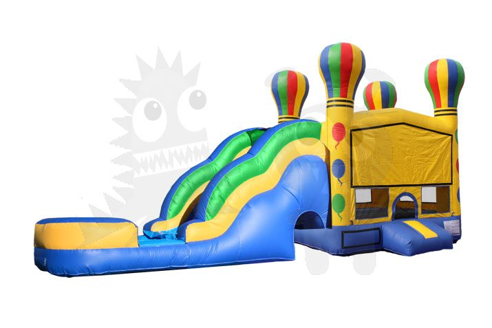 Hot Air Balloon Combo Bounce House Jumper Wet/Dry with Slide Pool and Basketball Hoop Commercial Inflatable For Sale