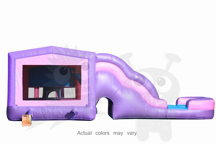 Pink Purple Castle Combo Bounce House Jumper with Slide Pool and Basketball Hoop Commercial Inflatable For Sale