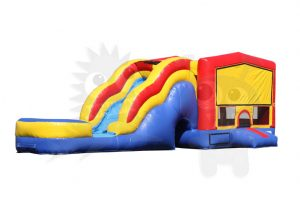 COM-550-2 Red/Yellow/Blue Bounce House Combo Jumper with Water Slide and Basketball Hoop Commercial Inflatable For Sale
