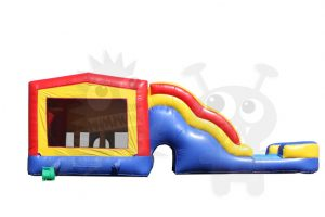 COM-550-4 Red/Yellow/Blue Bounce House Combo Jumper with Water Slide and Basketball Hoop Commercial Inflatable For Sale