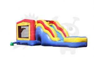 COM-550-5 Red/Yellow/Blue Bounce House Combo Jumper with Water Slide and Basketball Hoop Commercial Inflatable For Sale