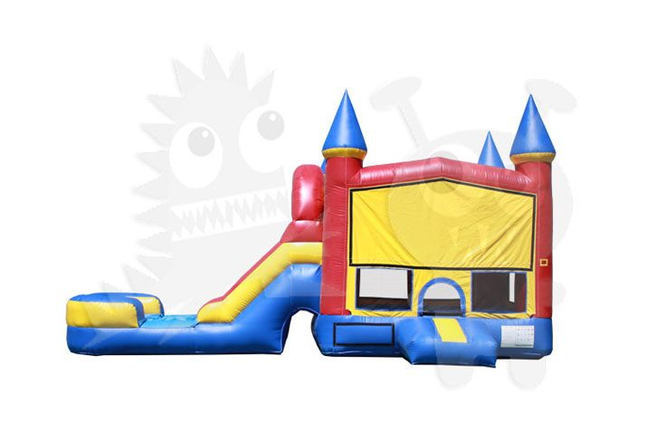 Red/Yellow/Blue Castle Combo Bounce House Jumper with Water Slide and Basketball Hoop Commercial Inflatable For Sale