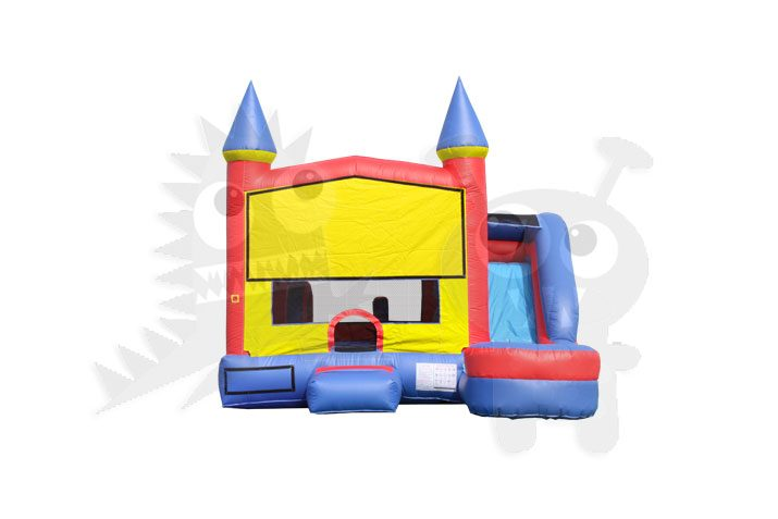 Red/Yellow & Blue Castle 6-in-1 Combo Bounce House Jumper with Slide Pool, Climbing Wall, and Basketball Hoop Commercial Inflatable For Sale