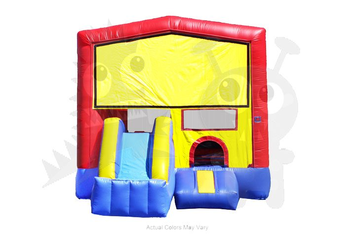 Red/Yellow/Blue 4-in-1 Combo Bounce House with Basketball Hoop Commercial Inflatable For Sale