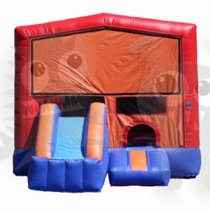 Red/Blue Combo Bounce House with Double Slide and Basketball Hoop Commercial Inflatable For Sale