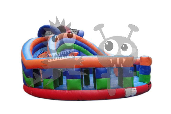 Round Court Inflatable Combo Dry Slide, Basketball Hoop, Viewing Rail, Pop Ups Commercial Inflatable For Sale