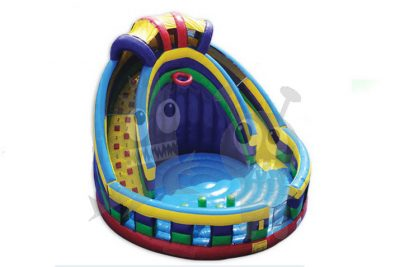 16' Round Court Inflatable Combo Dry Slide, Basketball Hoop, Viewing Rail, Pop Ups Commercial Inflatable For Sale