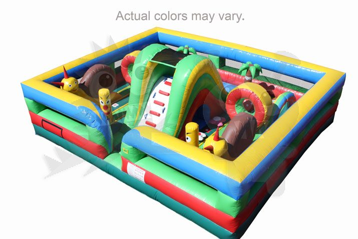 Multicolor Colorful Tropical Garden Inflatable Obstacle Course Commercial Inflatable For Sale