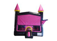 Black and Pink Bouncer with Outside Hoop Commercial Inflatable For Sale