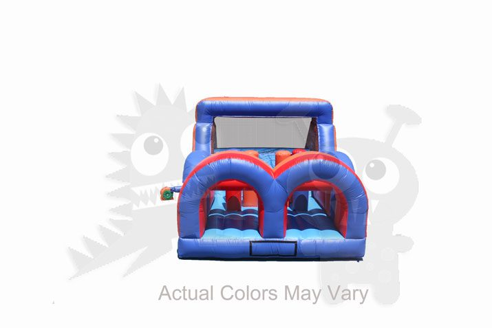 Red Blue Inflatable Obstacle Course Wet or Dry End Load Multiple Lane Commercial Inflatable For Sale