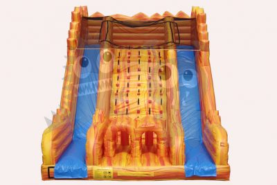 22' Inflatable Orange Marble Dry Slide Front Load, Double Lane Commercial Inflatable For Sale