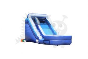 WAT-2012-01 12′ Silver and Blue Wet/Dry Slide Single Lane Commercial Inflatable For Sale