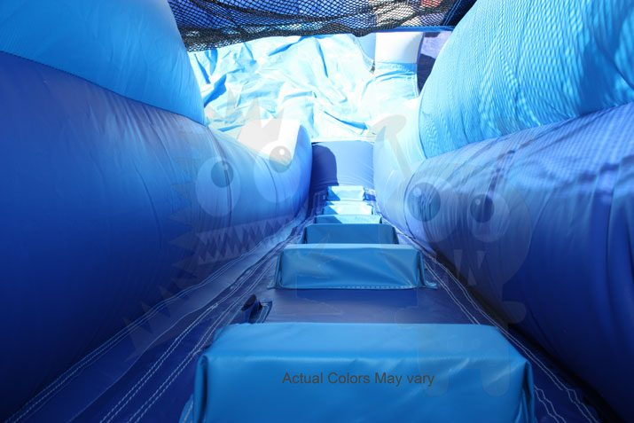 12' Silver and Blue Wet/Dry Slide Single Lane Commercial Inflatable For Sale