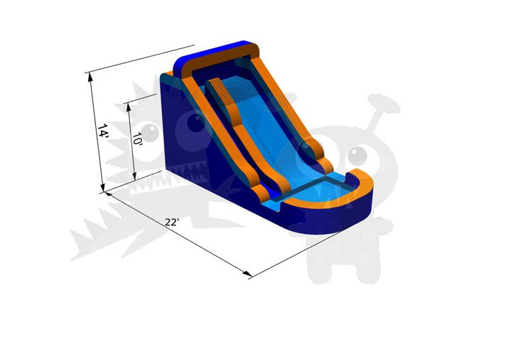 14' Orange and Blue Wet/Dry Slide Single Lane Commercial Inflatable For Sale