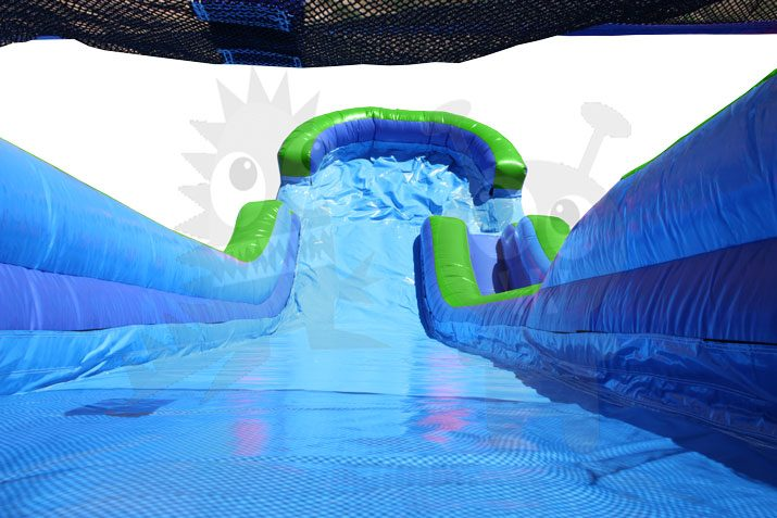 16' Green & Blue Wet/Dry Slide Single Lane Commercial Inflatable For Sale