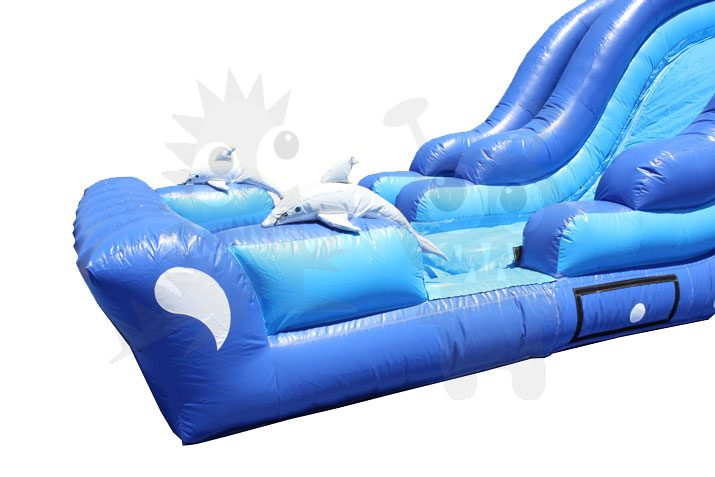 18' Dolphin Wave Wet/Dry Water Slide Single Lane Commercial Inflatable For Sale