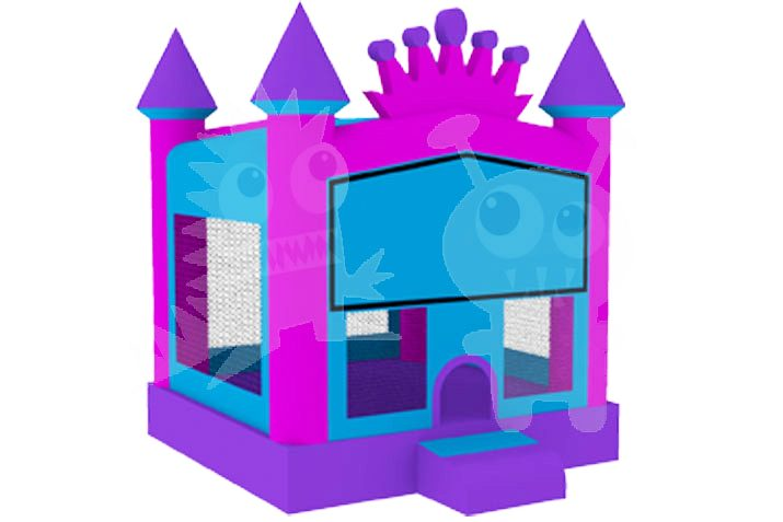 Princess Pink Crown Bounce House Jumper with Basketball Hoop Commercial Inflatable For Sale