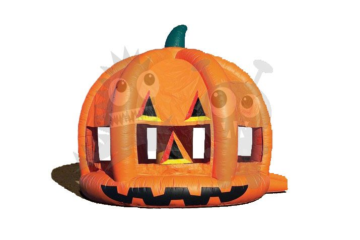 Inflatable Pumpkin Bounce House with Obstacles and Hoop Commercial Inflatable For Sale