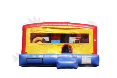 8-in-1 Neutral Colored Combo with Slide, Climbing Wall & Hoop Commercial Inflatable For Sale