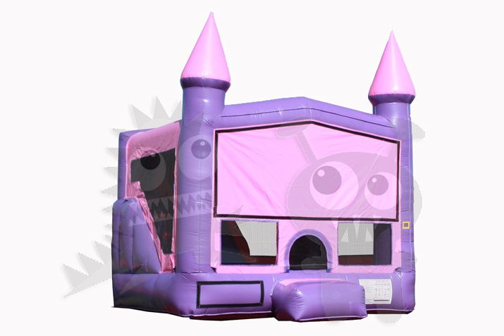Inflatable Pink and Purple Castle Point Combo Bounce House with Inside Slide and Hoop Commercial Inflatable For Sale