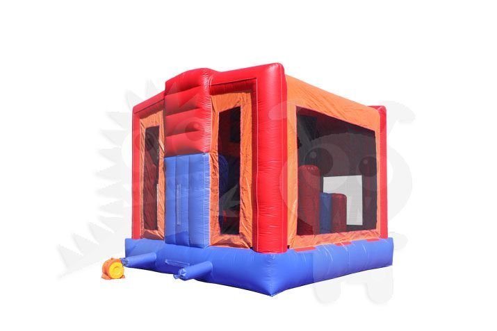 5-in-1 Orange Blue Combo with Slide, Climbing Wall, and Hoop Commercial Inflatable For Sale5-in-1 Orange Blue Combo Bounce House with Slide, Climbing Wall, and Hoop Commercial Inflatable For Sale