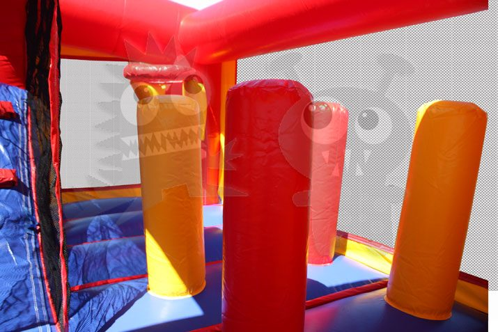 8-in-1 Neutral Color Combo Bounce House with Slide, Climbing Wall, and Basketball Hoop Commercial Inflatable For Sale