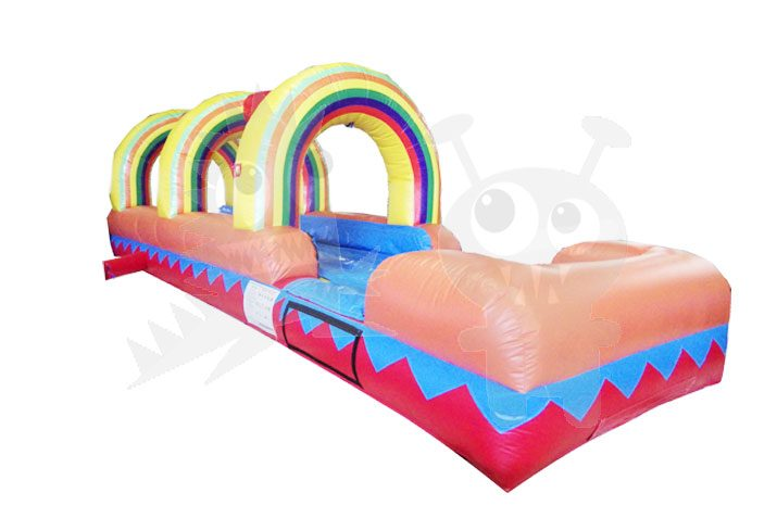 27' Multicolor Rainbow Inflatable Water Slide Slip 'n Slide Commercial Inflatable For Sale