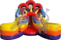 Multicolor Rainbow Inflatable Carnival Circus Water Slide Two Lanes Commercial Inflatable For Sale