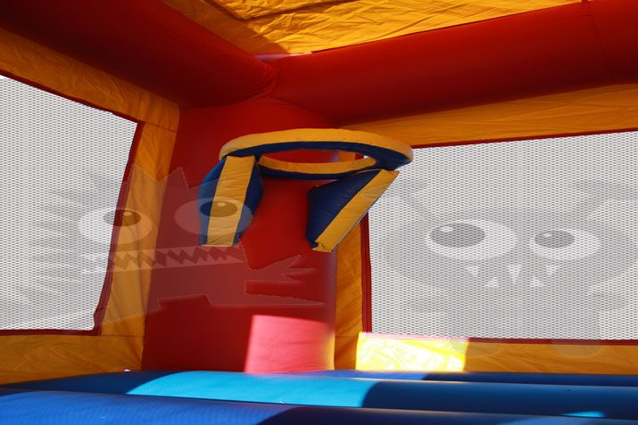 13x13 Red/Yellow/Blue Mini Castle Bounce House Jumper with Basketball Hoop Commercial Inflatable For Sale