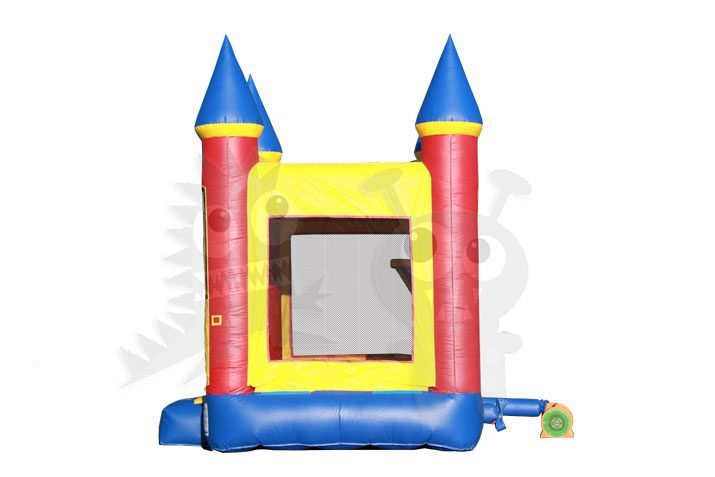 11x11 Red/Yellow/Blue Mini Castle Bounce House Jumper with Basketball Hoop Commercial Inflatable For Sale