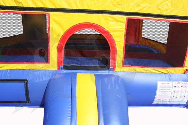 Red/Blue/Yellow Castle Bounce House Jumper with Basketball Hoop Commercial Inflatable For Sale