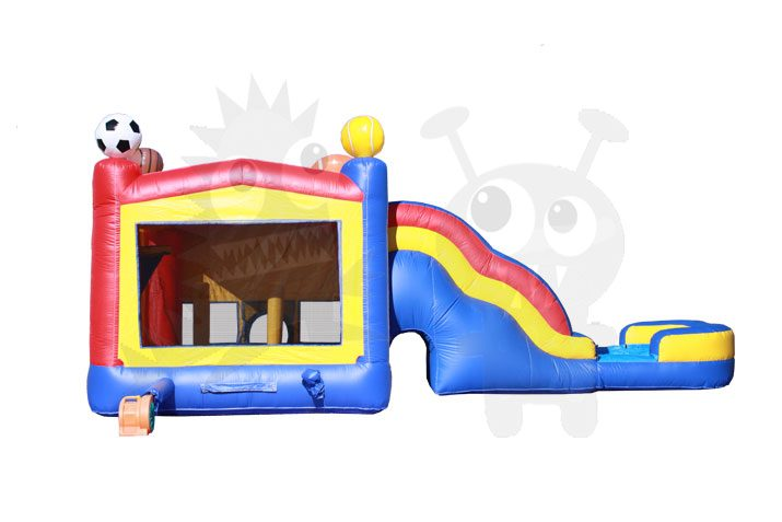 3D Sports Combo Bounce House Jumper Wet/Dry with Slide Pool and Basketball Hoop Commercial Inflatable For Sale