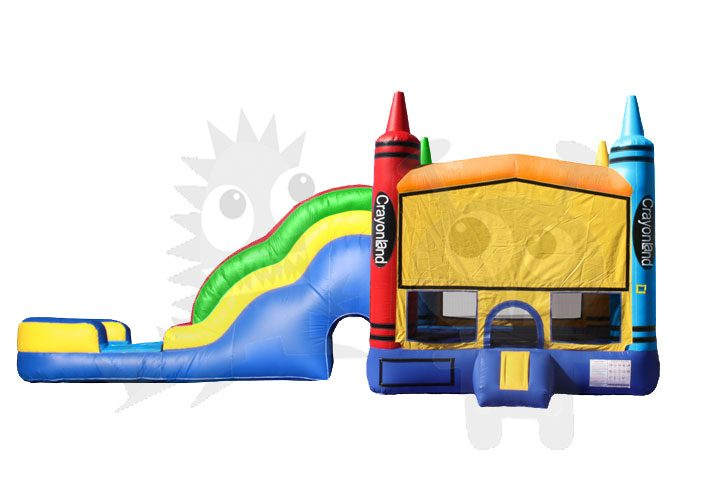 Colorful Crayons Combo Bounce House Jumper Wet/Dry with Slide Pool and Basketball Hoop Commercial Inflatable For Sale