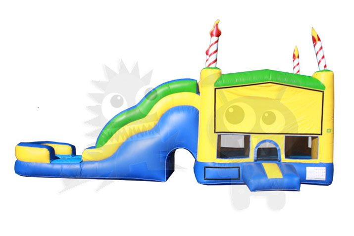 3D Birthday Cake 5-in-1 Combo Bounce House Jumper with Slide Pool and Basketball Hoop Commercial Inflatable For Sale