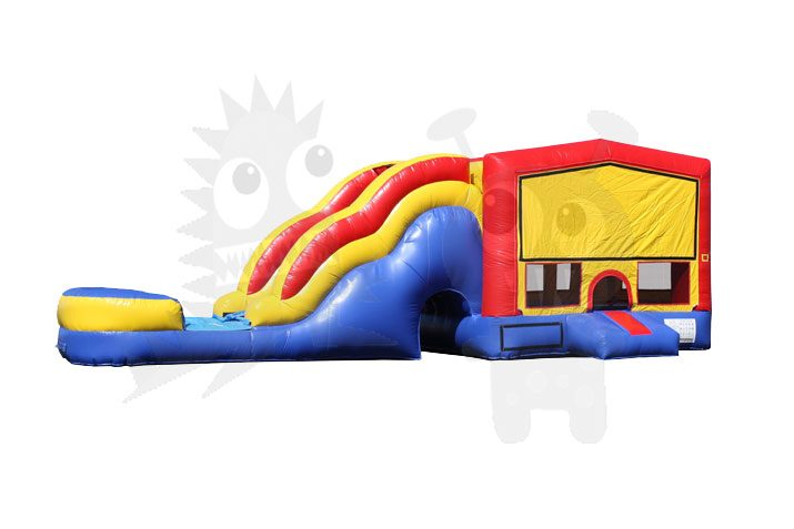 Red/Yellow/Blue Bounce House Combo Jumper with Water Slide and Basketball Hoop Commercial Inflatable For Sale