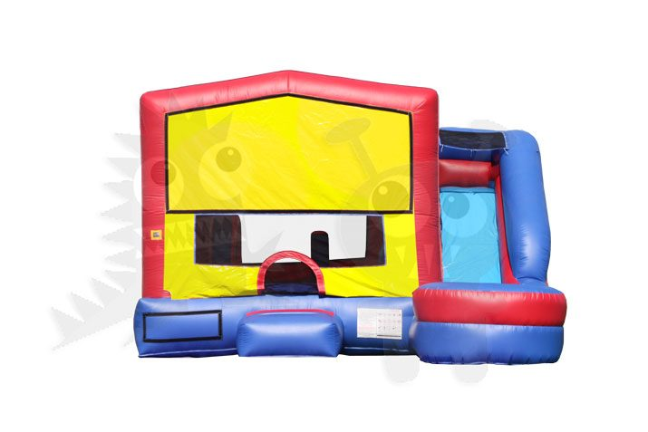 Red/Yellow & Blue 6-in-1 Combo Bounce House Jumper with Slide Pool, Climbing Wall, and Basketball Hoop Commercial Inflatable For Sale