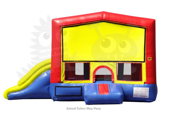 Red Yellow Inflatable Combo with Double Slip and Basketball Hoop Commercial Inflatable For Sale