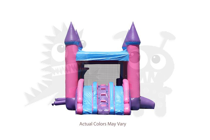 Pink/Purple/Blue Castle Combo Bounce House with Double Slide and Basketball Hoop Commercial Inflatable For Sale