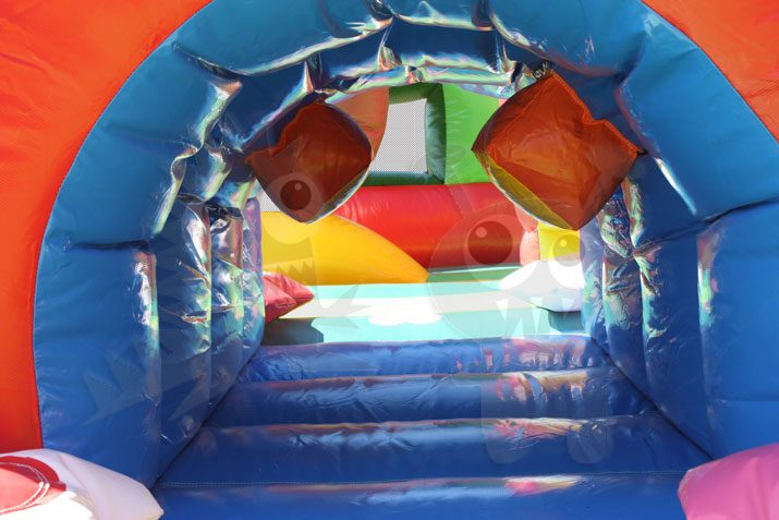 Multicolor Colorful Tunnel Inflatable Obstacle Course Commercial Inflatable For Sale