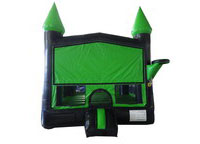 Black and Green Bouncer with Outside Hoop Commercial Inflatable For Sale