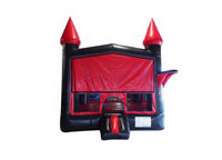 Black and Red Bouncer with Outside Hoop Commercial Inflatable For Sale