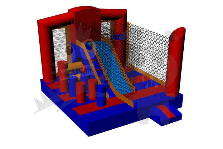 5-in-1 Orange Blue Combo with Slide, Climbing Wall, and Hoop