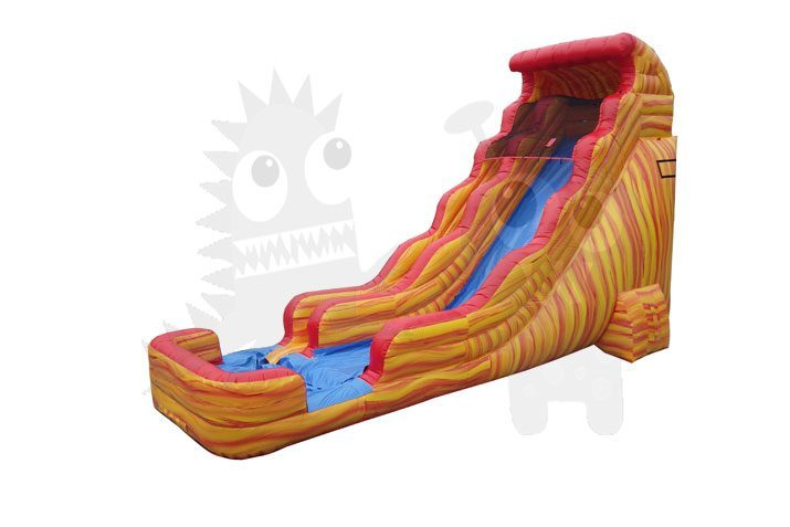 22' Fire and Ice Orange Marble Wet/Dry Slide Commercial Inflatable For Sale