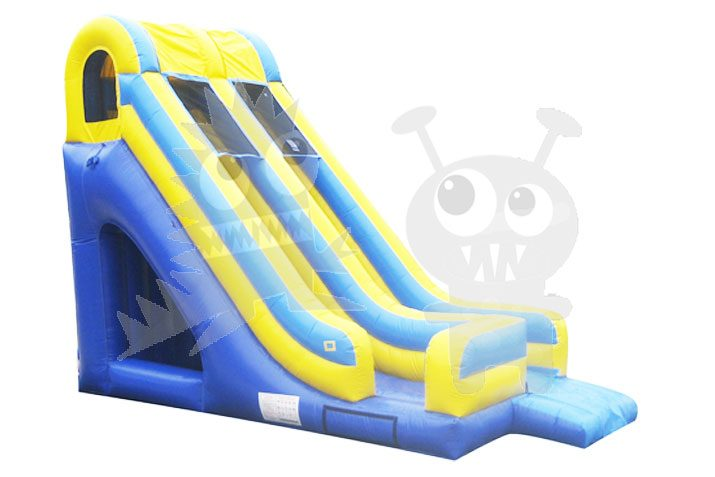 18' Blue Yellow Inflatable Inground Pool One Lane Water Slide Wet or Dry Commercial Inflatable For Sale