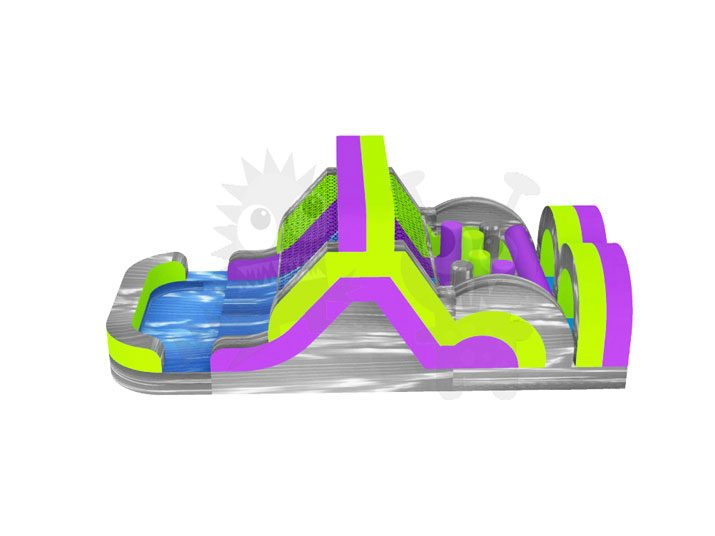 35' Purple Green & Grey Marble Commercial Inflatable Obstacle Course Wet/Dry Slide Commercial Inflatable For Sale