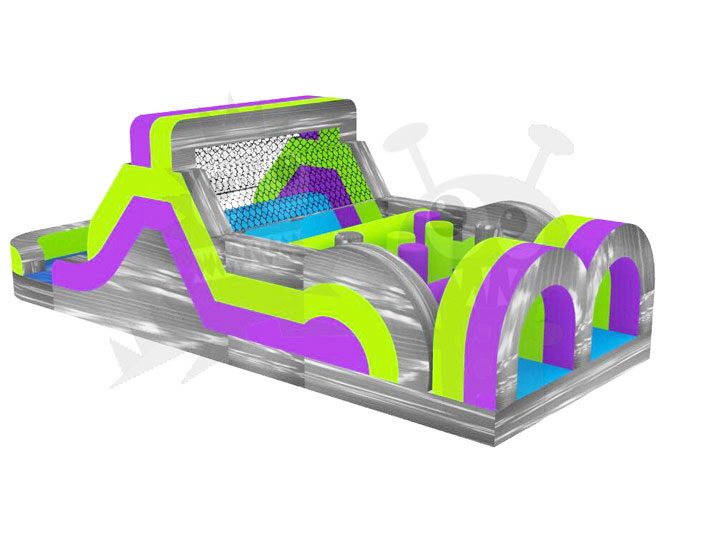 35' Purple Green Gray Commercial Inflatable Obstacle Course Wet/Dry Slide Commercial Inflatable For Sale